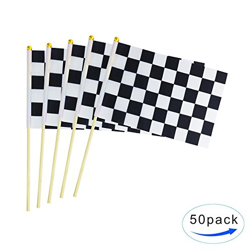 Checkered Racing Stick Flag,50 Pack Hand Held Black & White Race Car Pennant Flags Banners With Wood Stick,Party Decorations Supplies For Racing,Race Car Party,Sports Club,Festival Events Celebration (Car Flag Race)
