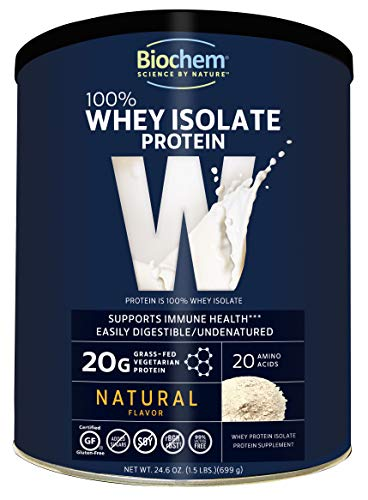 Biochem 100% Organic Whey Isolate Protein - Natural Flavor - 24.6 Ounce - 20g Vegetarian Protein - May Help Support Immune Health - Easily Digestible - Refreshing Taste
