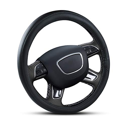 Apsung Car Steering Wheel Cover, Universal 14 1/2 inch to 15 inch Anti Slip Odorless for Auto Truck SUV Steering Wheel Covers, Black Leather