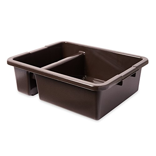 "Rubbermaid 3350 21-1/2"" Length x 17-1/8"" Width x 7"" Height, 7 gallon Brown HDPE Divided Bus/Utility Box"