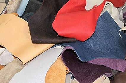 Lederhandel.com Restos de Piel para Manualidades, 5 kg, trozos de tamaño DIN A5 para Manualidades y Costura