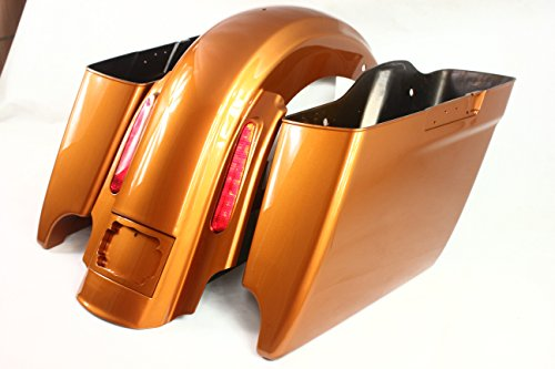 REAR END PACKAGE FOR HARLEY & BAGGERS - EXTENDED SADDLEBAGS, FENDER, AND LIGHTS, LICENSE PLATE FRAME - AMBER WHISKY