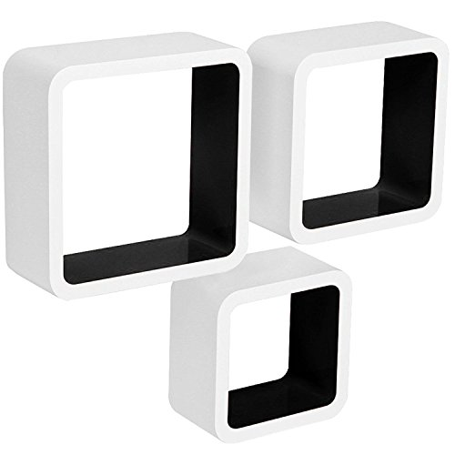SITU Floating Wall Shelves Decorative DIY Cube Shelves, Set of 3, White+Black, SWS0006-b by SITU