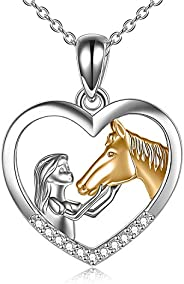 YFN Horse Pendant Necklace Sterling Silver Girls with Horse Gift for Women Girls (Horse with Girl Necklace)