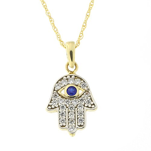 Gold Hamsa Pendant (14k Yellow Gold Simulated Sapphire and Cubic Zirconia Tiny Hamsa Pendant Necklace, pendant only)