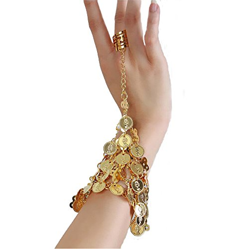 Bettli Fashion Shining Sequins Coin Belly Dance Accessories (Gold Bracelets)