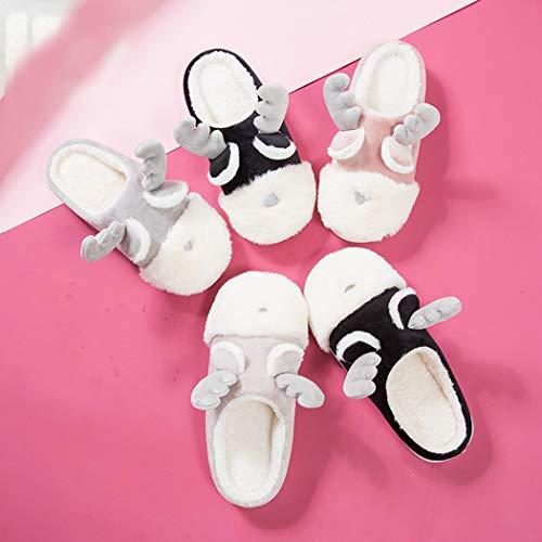 For Cute Slippers Black Zoylink Antler Men Femmes Hommes Chaussons Chaudes Noël De Pantoufles Pour Cartoon Fnqx8BOTqw