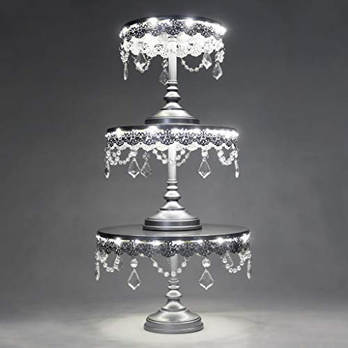 Aurora 3-Piece Silver Rechargeable LED Cake Stand Set, Round Metal Crystal Cupcake Dessert Display Pedestal Wedding Party Display, Chargers ()
