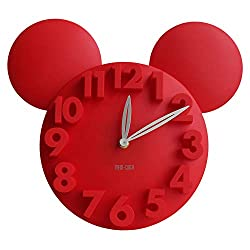 MEIDI CLOCK Modern Design Mickey Mouse Big Digit 3D Wall Clock Home Decor Decoration - Red