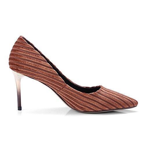 Pumps Pointed Heel Shoes Handmade Seven Brown Stiletto Nine Leather Genuine Unique Toe Stripes Women's qwfI70PI
