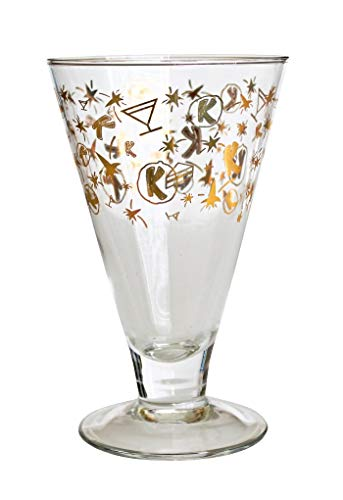 Vintage 1950s Retro Kahlua Celebration Cocktail Glass Gold Rockets Shooting Stars