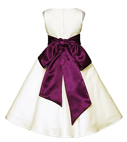 (Wedding Pageant Ivory A-Line Matte Satin Jr. Bridesmaid Flower Girl Dress (18, Ivory/Plum) )