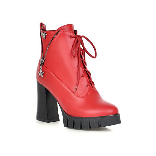 A&N Womens Bandage Chunky Heels Platform Metal Ornament Imitated Leather Boots Red FcQTp35