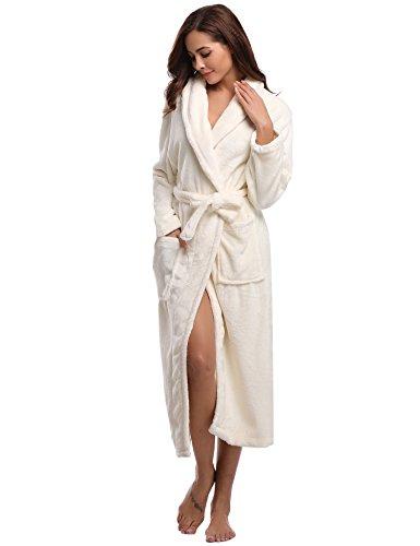 Peignoir Homme Polaire De Chaud Robe Bain Long Chambre Aibrou Femme Velours Longue Hiver Eponge Blanc Flanelle wqgW4p