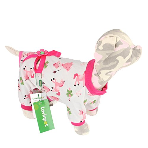 LovinPet Dog Pajamas Pet Clothes Cotton Cozy Onesie Puppy Pjs with Bow And Snap Buttons (Doggy Clothing)