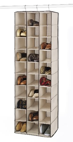 Hanging Shoe Holder (Whitmor Hanging Shoe Shelves 30 Section Canvas with Brown Trim)