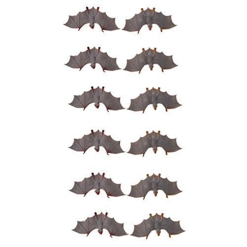 Perfk インテリア飾り 子ども 知育玩具 バット 飛行動物モデル 模型 フィギュアおもちゃ 全12点 2カラー選択 - グレーの商品画像