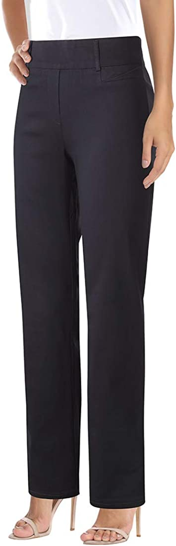 Foucome Dress Pants for Women- Bootcut Stretch High Waisteded Trousers with Belt Loops