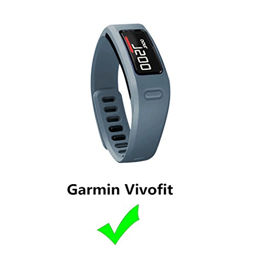 Replacement Fitness Wristband Band for Garmin Vivofit Replacement Strap Bands S L Small Lager Size,NOT for Garmin Vivofit 2/3/JR/HR(No Tracker) (Slate, L)