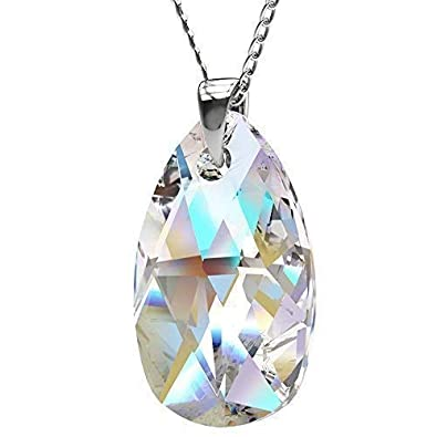 751c58638 Image Unavailable. Image not available for. Colour: Sterling Silver Made  with Swarovski Crystals Blue Aurora Borealis Teardrop Pendant ...