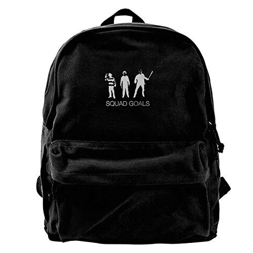 Squad Icon Backpack - Canvas Backpack Squad Goals Horror Movie Villains Rucksack Gym Hiking Laptop Shoulder Bag Daypack For Men Women