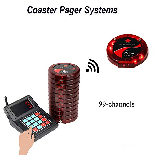 CATEL Wireless Calling System Restaurant Pager System with 10pcs Coaster Pagers and 1pc Call Button Keypad Transmitter for Fast Food Court Church Clinic Coffee Shop Office by CATEL (Image #2)