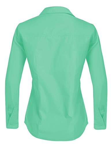 Hotouch Womens Long Sleeve Button Down Shirt with Stretch (Green M) by Hotouch (Image #3)