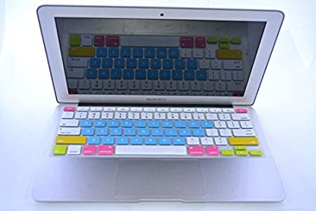 HQF Durable Keyboard Cover Protector Silicone Rubber Keyboard Cover Skin for MacBook Air 13 MacBook Pro 13 15 with Retina Display White/&Aqua