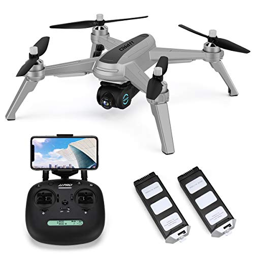 JJRC X5 Drone with 1080P HD Camera Live Video, 5G WiFi FPV GPS Return Home Quadcopter with Brushless Motor,36mins(18+18) Long Flight Time Drone for Adults, Follow Me, Long Control Range (Gray)