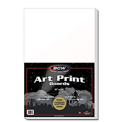 100 BCW 11x17 Art Print 2-mil Poly Bags AND 100 Acid Free 11x17 Backer Boards