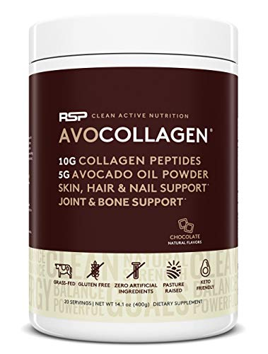 Keto Collagen Peptides Protein Powder + Avocado Oil, Low Carb Grass Fed Collagen Protein with Heart Healthy Fats, Keto Friendly, Gluten Free, 20 Servings (Chocolate)