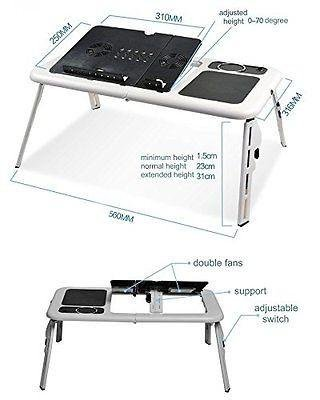 ustable Laptop Table for Home, Bed with 2 Cooling Fans, Mouse Pad, Drink Holder and Pen Holder ()