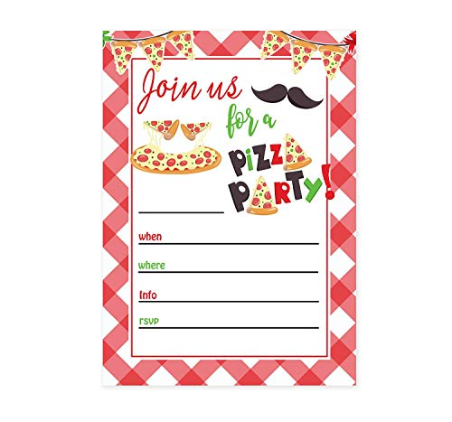 Pizza party invitations 10 ct - 5x7 - Great for birthdays - Handmade in the USA