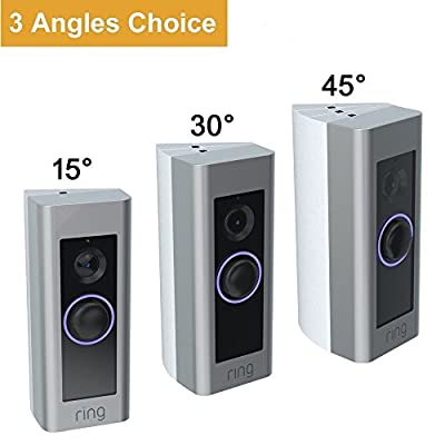 CAVN 3-Pack Adjustable ( 15 to 45 Degree) Ring Video Doorbell Pro Angle Mount Corner Wedge Kit Angle Adjustment Adapter Mounting Plate Bracket for Ring Video Doorbell Pro (More angle choices), White