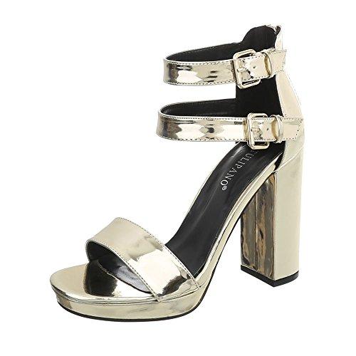 Ital-Design High Heel Sandaletten Damenschuhe Pump Heels Reißverschluss Sandalen & Gold K6L7267-5