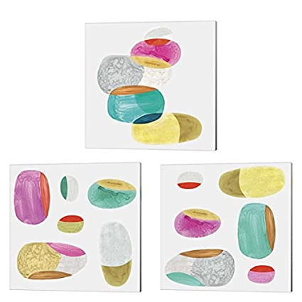 Amazon Com Color Combo By Eva Watts 3 Piece Canvas Art Set