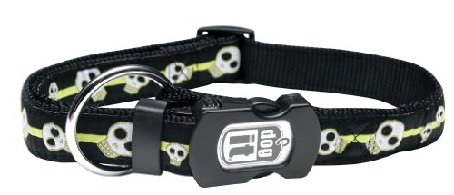 Dogit Style X-Large Adjustable Nylon Collar with Plastic Snap and ID Plate, Electric Skulls, Lime on Black