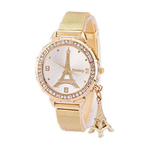 Leegor Women Ladies Luxury Diamond Insert Paris Tower Mesh Band Elegant Wrist Watch Life Waterproof