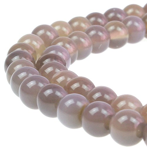 Agate Perfect Round Beads - JARTC 7A Natural Grey Agate Gemstone Round Stone Beads For Jewelry Making Diy Bracelet Necklace (6mm)