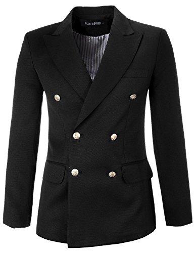 - FLATSEVEN Mens Designer Slim Double Breasted Peaked Lapel Blazer Jacket (BJ444) Black, S