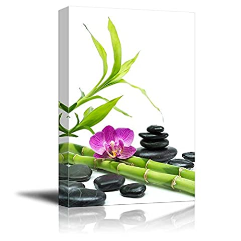 Wall26 - Canvas Prints Wall Art - Purple Orchid with Bamboo and Black Stones - White Background | Modern Wall Decor/ Home Decoration Stretched Gallery Canvas Wrap Giclee Print. Ready to Hang - 24