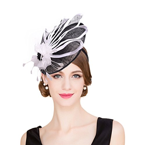 Lawliet Womens Black mix White Sinamay Fascinator Cocktail Party T213