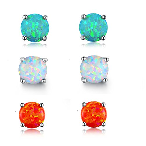 GEMSME Green White and Fire Opal 6mm Round Stud Earrings Pack of 3 PCS