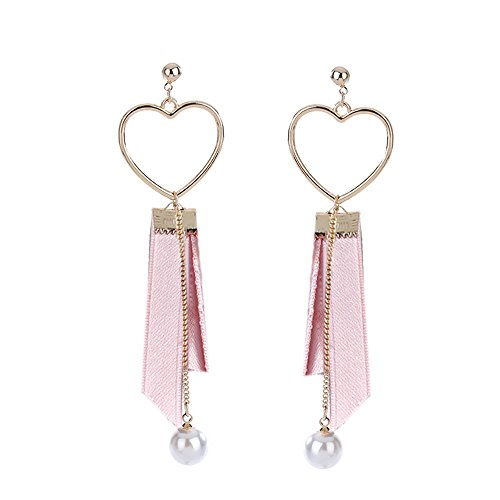 MUZHE Hollow Love Heart Black Pink Cloth Ribbon Long Chain Pearl Drop Earring (Pink) by MUZHE