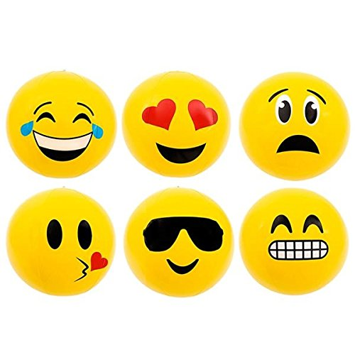 Emoji Party Pack Inflatable Beach Balls – Pack Of 12 Beach Pool Party Toys - 12'' For Swimming Pools, Pool Party, Toys, Birthday Party, Prize, Party Favor, Volleyball, Beach, Ocean, Kids, & Adults by JoyABit