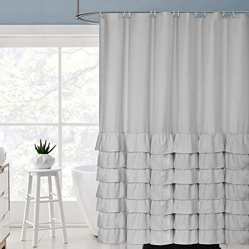 Volens Gray/Grey Ruffle Shower Curtain Farmhouse Rustic Cloth Shower Curtains for Bathroom, Fabric Bath Curtain, 72x72 inch - Ruffle Curtain Shower