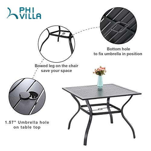 PHIVILLA 5-Piece Metal Patio Outdoor Table and Chairs Dining Set- 37 Square Bistro Table and 4 Backyard Garden Chairs, Table with 1.57 Umbrella Hole
