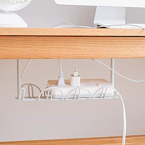 ROSOY Debajo del Organizador de la Bandeja de administraci/ón de Cables del Escritorio para los enchufes del Cargador del Poder del Cable de Alambre