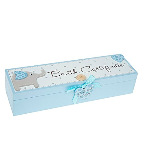 BLUE BABY BOY'S BIRTH CERTIFICATE BOX WITH ELEPHANT,
