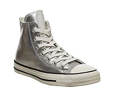 Converse Chuck Taylor All Star Shiny Metal Womens Silver Hi Trainers-UK 3 / EU 35